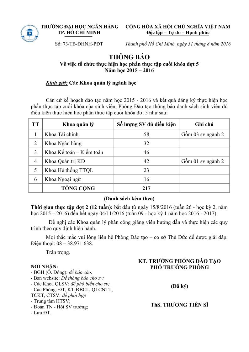TB ve viec to chuc thuc tap dot 5 (2015 - 2016)